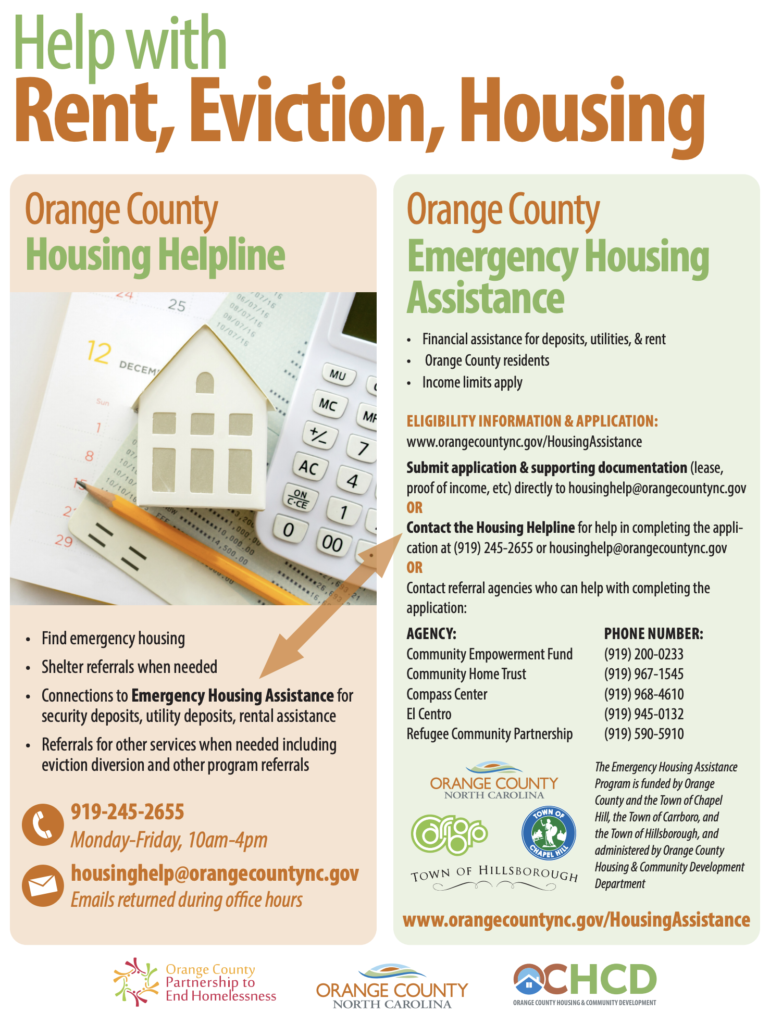 Flyer for the Orange County emergency housing assistance program