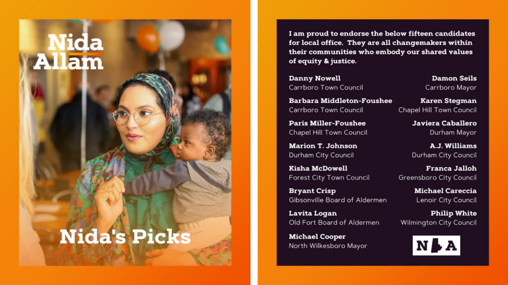 """Image showing a photo of Nida Allam and a list of """"Nida's Picks"""" with the following introduction: """"I am proud to endorse the below fifteen candidates for local office. They are all changemakers within their communities who embody our shared values of equity & justice."""""""